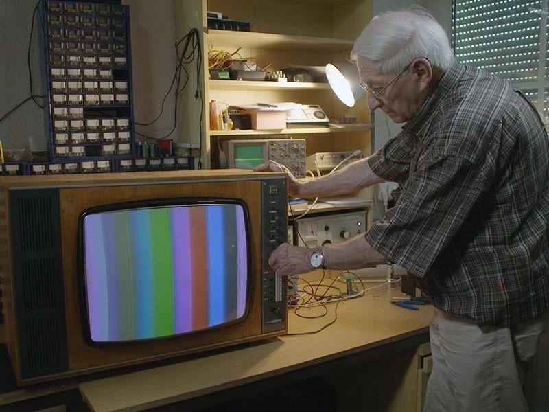 Testbild auf dem Fernsehapparat